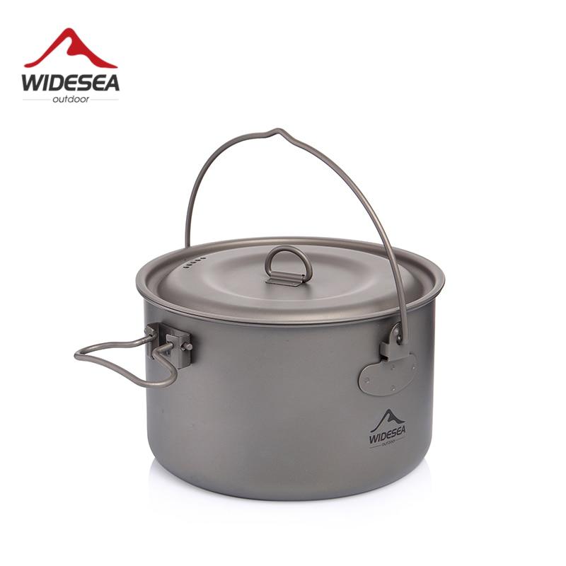 Widesea Camping Tableware Titanium Cookware Set Tourism Cauldron Outdoor Cooking Pot Picnic Kitchen Hiking Trekking