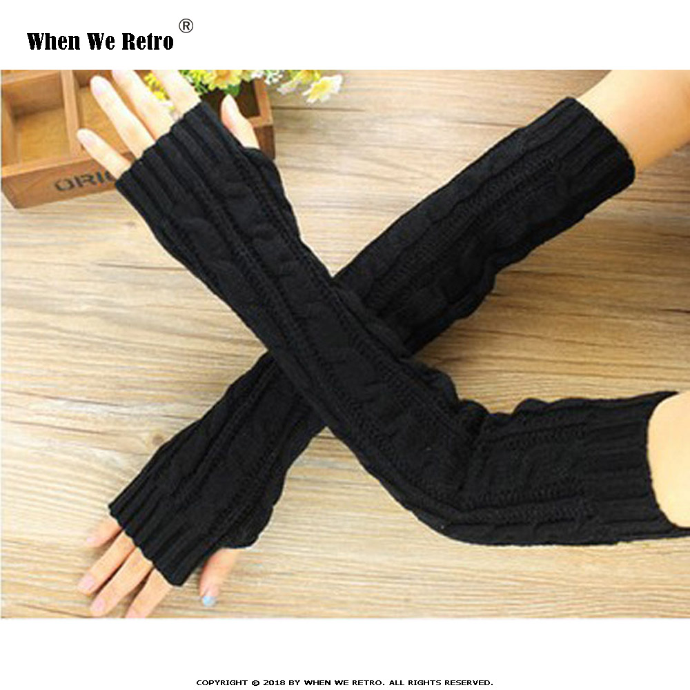 When We Retro Spring Autumn Women Arm Warmers Winter Fashion Fingerless Gloves  Knitted Mitten Long  Guantes Gloves QY0531