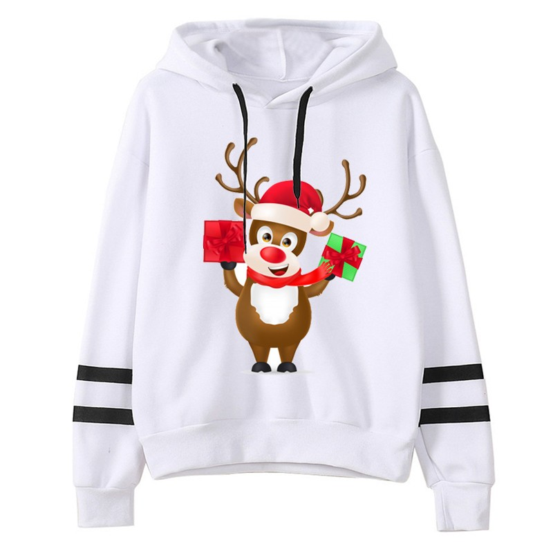 New Christmas Hoodies Women Casual Loose Long Sleeve Sweatshirt Striped Print oversized Hoodies Tops sudadera mujer 2020