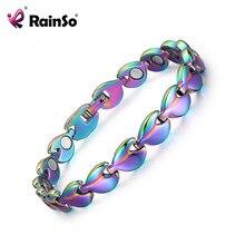 Rainso 2020 novo magnético pulseiras para mulheres de aço inoxidável bio energia saúde pulseira femme multicolorido chapeamento charme jóias