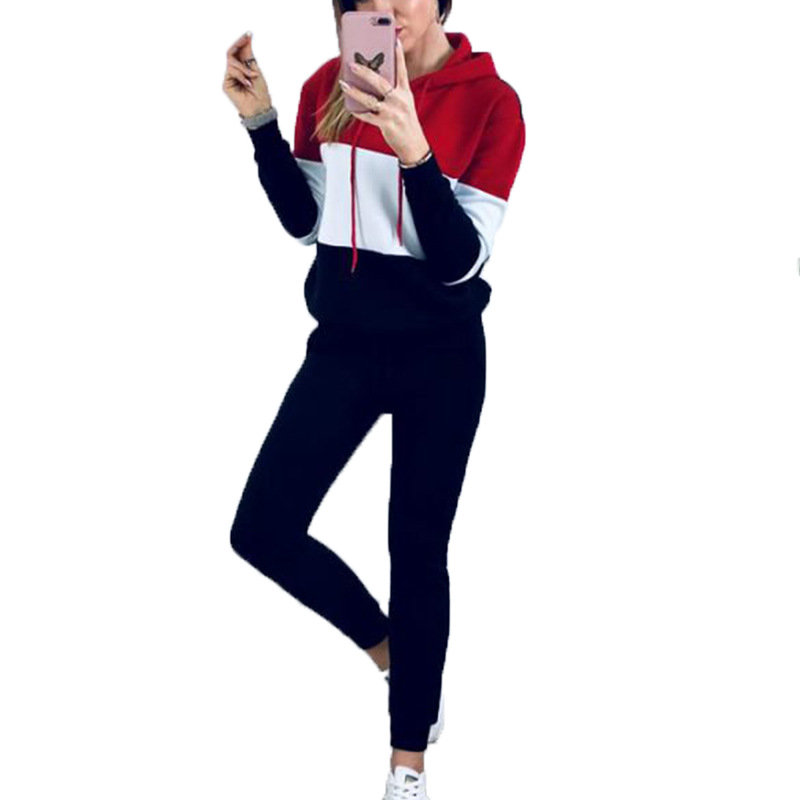 2 Two Pieces Sweatshirt Set Women Long Sleeve Hoody Coats And Skiny Pencil Pant Sets Casual Patchwork Tracksuit Sportwear Set