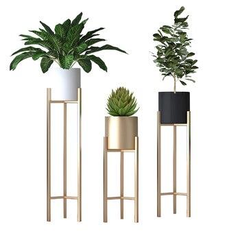 Estante nórdico moderno para el hogar y la sala de estar, creativo, verde, para flores, hierro, maceta dorada
