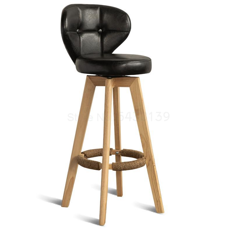 Nordic Bar Chair Simple Home Bar Chair Back High Chair Solid Wood Bar Rotating High Stool