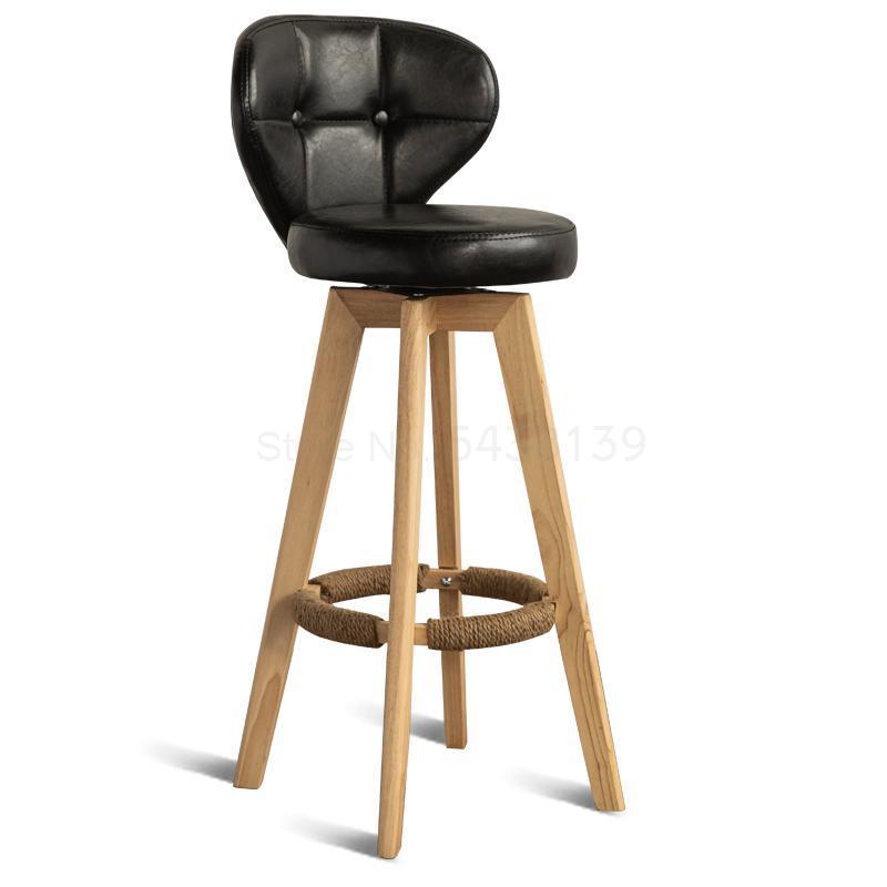 Nordic Bar Chair Simple Home Bar Chair Back High Chair Solid Wood Bar Rotating High Stool