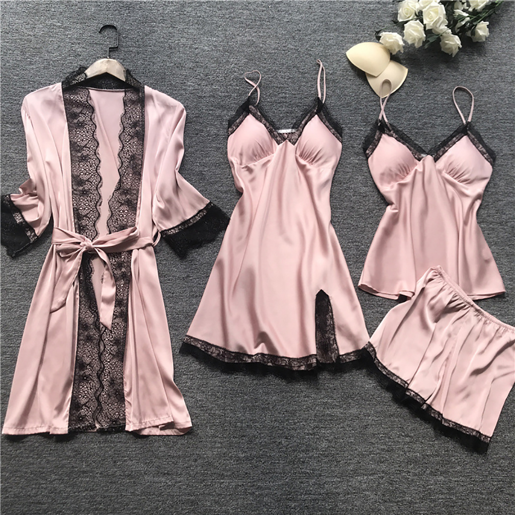 2020 Women Pajamas Sets Satin Sleepwear Silk 4 Pieces Nightwear Pyjama Spaghetti Strap Lace Sleep Lounge Pijama With Chest Pads