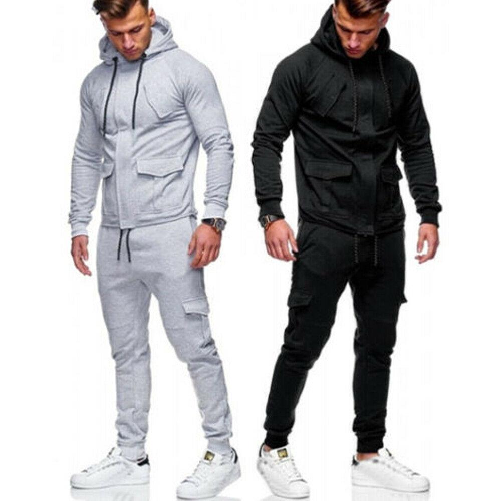 M-XXL Men's Tracksuit 2 Piece Set Sweatsuit Jogging Hoodie Hooded Coat Jacket +Trousers Sweatpants Joggers Sports Sweat Suit Set