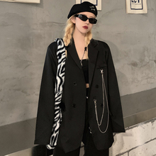 Black Outerwear Korean Suit Blazer Loose Long Sleeve Female Double Breasted Suit Jacket 2020 Fashion Office Winter Clothes Women