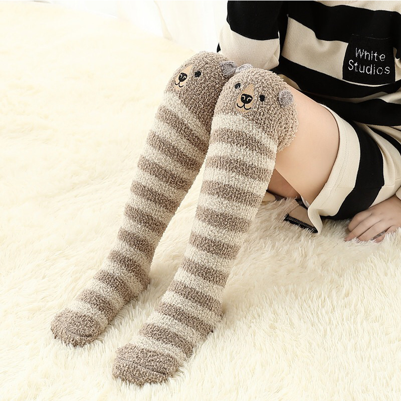 Christmas Toddler Baby Kids Boy Girls Socks Autumn Winter Knee Socks Girl Coral Fleece Sock Cute Cartoon Children Long Tube Sock