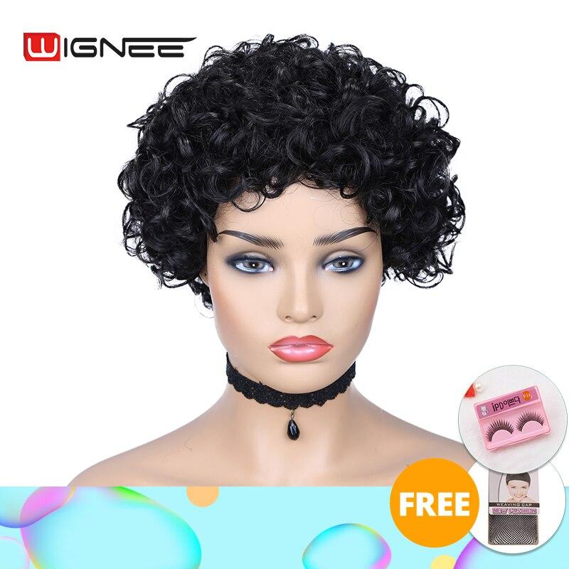 Wignee Short Curly Human Hair Wigs For Black Women 150% High Density Remy Brazilian Hair Short Pixie Cut Human Wigs Free Bangs