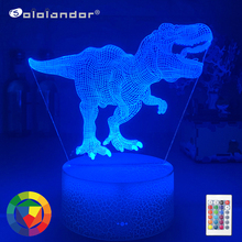 New 7Color Dinosaur LED 3D Night Lights Cartoon Fashion Remote Control Table Desk Lamp for Kids Christmas Birthday Gift Baby Toy cheap Sololandor CN(Origin) AYG02-NN-594 Plastic LED Bulbs Switch Dry Battery HOLIDAY 0-5W 7 Colors Change Wholesale Price ISO 19001 Quality System