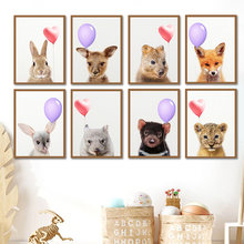 Nursery Wall Art Canvas Painting Animal Lion Fox Deer Rabbit Balloon Nordic Posters And Prints Decoration Pictures Kids Bedroom
