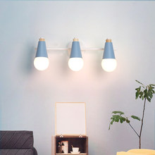Macaron nordic lâmpada de parede minimalista cor sólida cone quarto cabeceira luz para sala estar estudo escada do corredor decoração casa