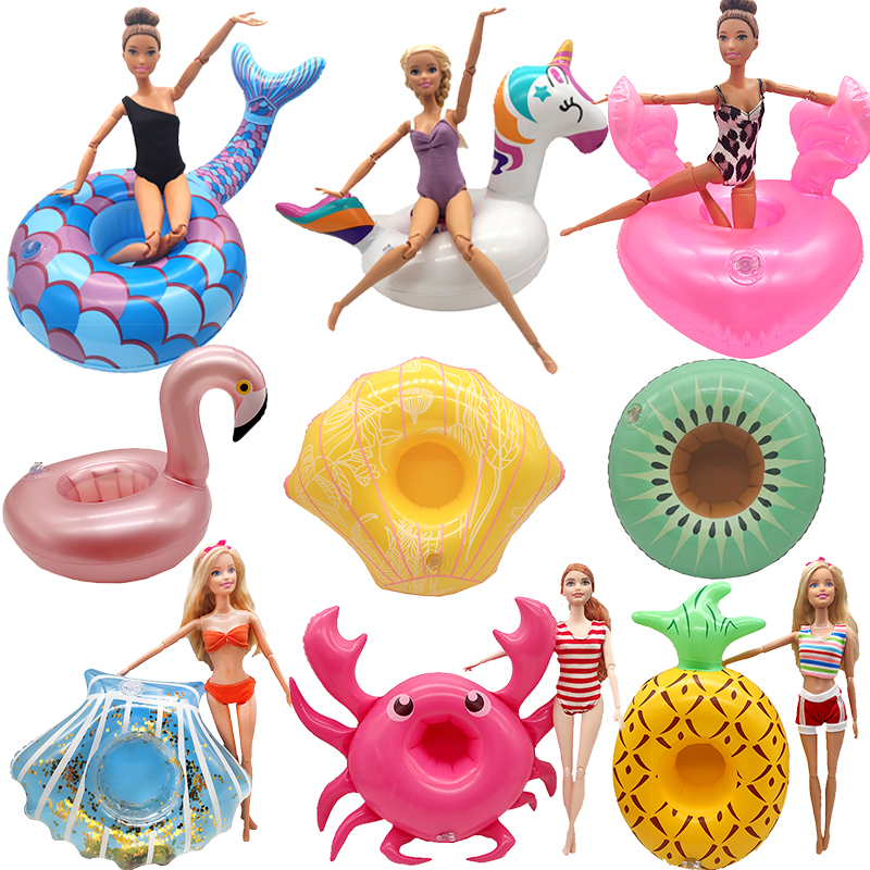 Fashion Handmade Doll Accessories Swimming Ring for Barbie Dolls Beach Lifebuoy Toys for Girls Swim Party Set Children Pool Toy