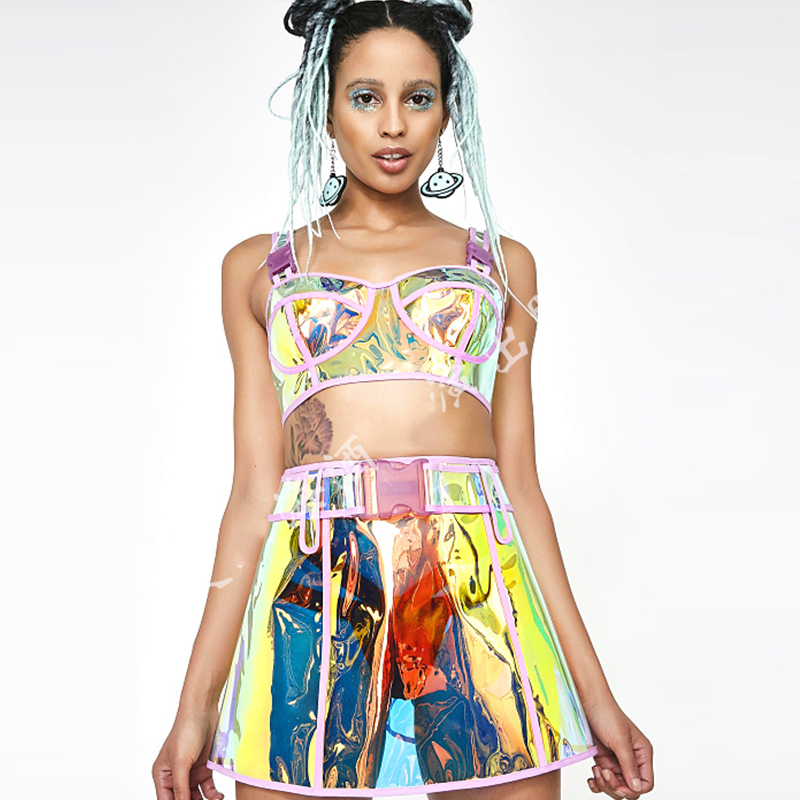 Sexy Singer Dance Stage Wear Costumes Transparent Colorful Sets Women Female Nightclub Show DJ Performance Stage Wear DWY2551