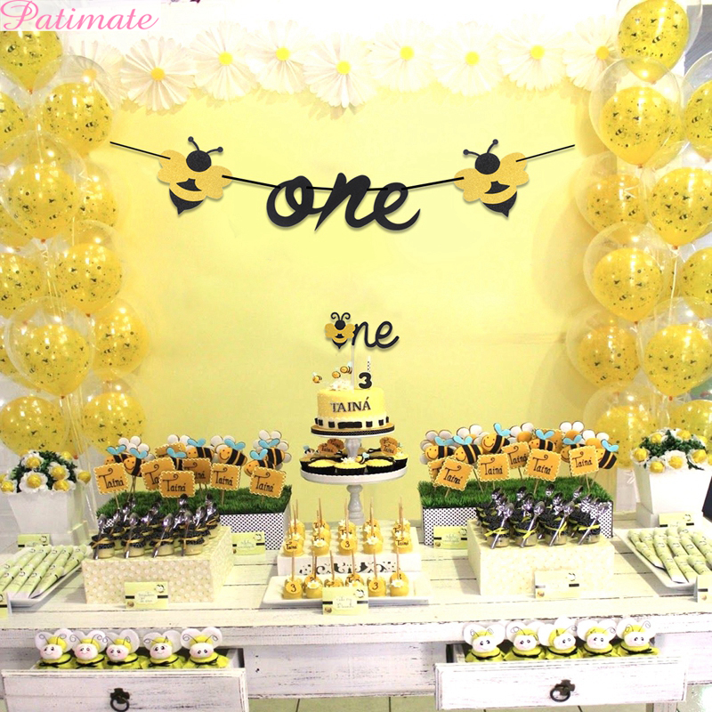 PATIMATE 1St Birthday <font><b>Party</b></font> Photo Banner Yellow <font><b>Bee</b></font> <font><b>Party</b></font> <font><b>Supplies</b></font> One Year Birthday <font><b>Party</b></font> Decorations Kids Boy Baby Shower Deco image