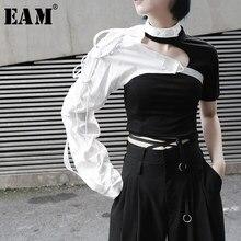 [Eam] 2021春夏新作ラペルの両面長袖アクセサリー不規則な人格シャツ女性ブラウスファッションJX407
