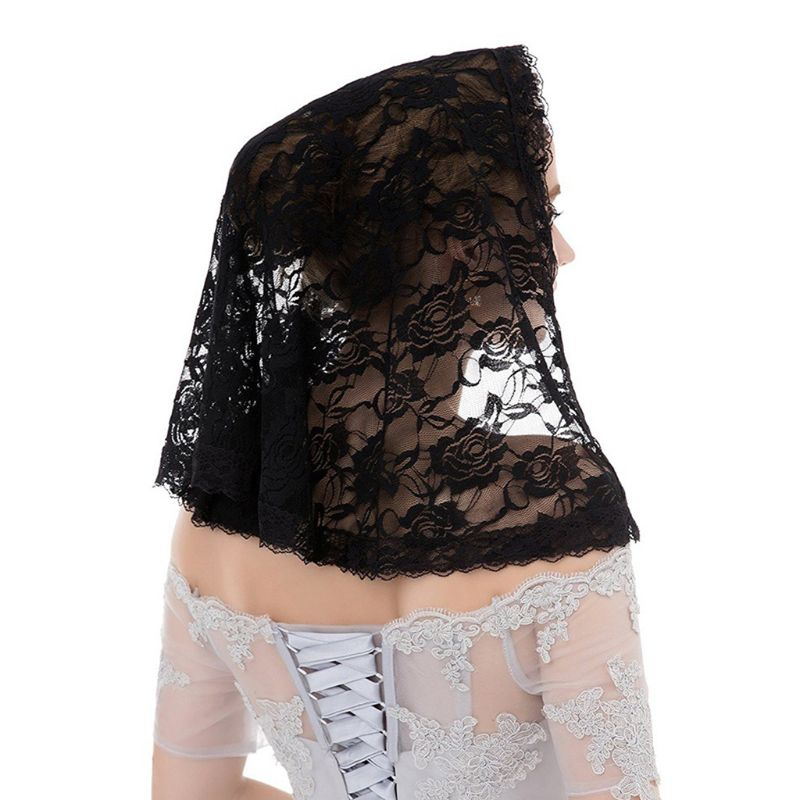 Single Layer Muslim Bridal Short Wedding Veil Crochet Sheer Floral Lace Shawl Style Women Bridal Hair Accessories Party Costume