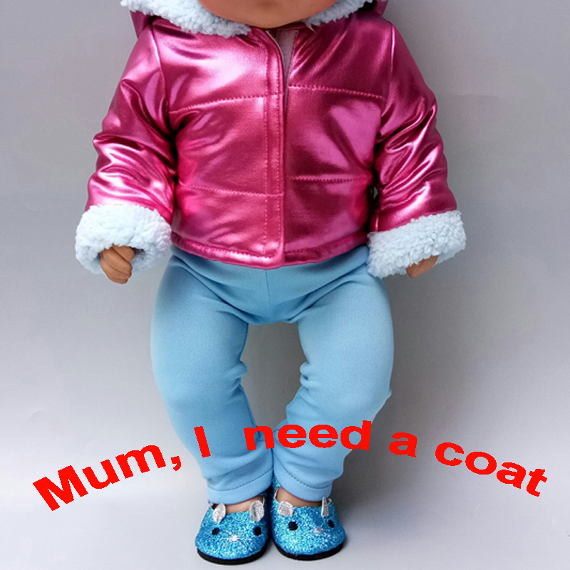 Baby New Born Doll Clothes Jacket Purple Color Hooded Coat 18 Inch American Doll Clothes Winter Coat For Baby Bona Doll
