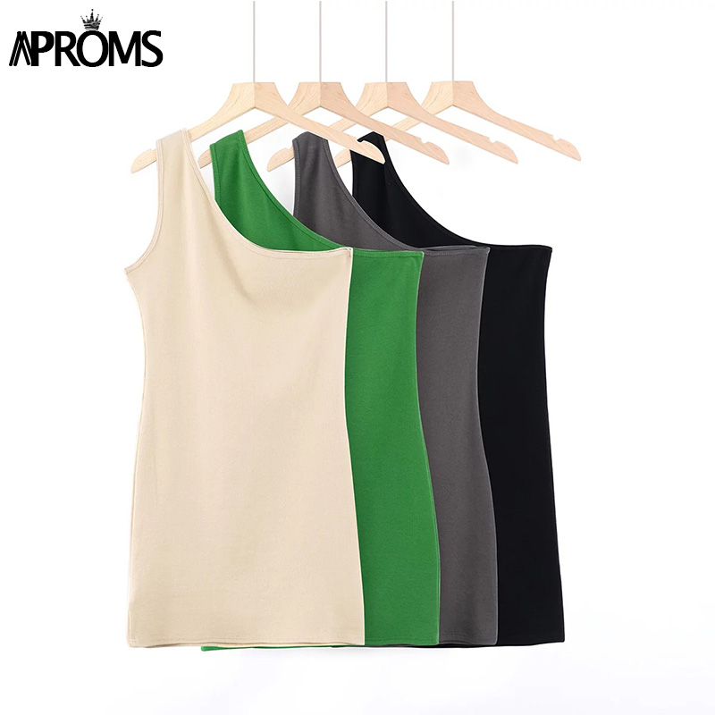 Aproms One Shoulder Ribbed Knitted Summer Dress Women Sexy Sleeveless Bodycon Mini Dresses Club Party Sundresses Vestidos 2020 4