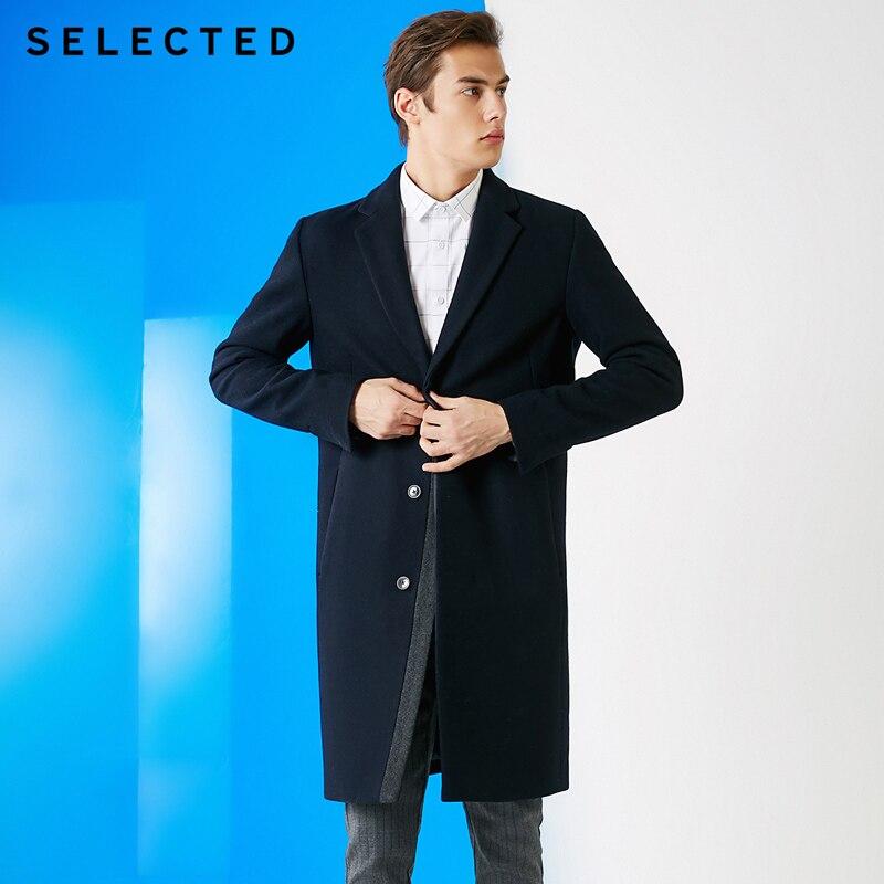 SELECTED Men's Autumn & Winter Woolen Cashmere Mid-length Overcoat S 419127512