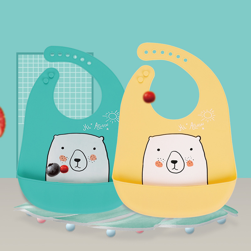 Baby Bib Eating Bib 3D Waterproof Edible Silicone  Bibs Prevent Missing Meals Bibs Go Out Portable
