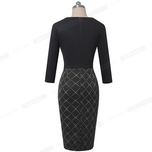 Image 2 - Nice forever Elegant Patchwork with Button Work Office vestidos Business Formal Bodycon Women Winter Dress B564