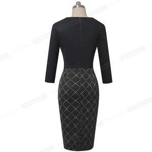 Image 2 - Ładnie na zawsze elegancka, patchworkowa z guzikiem praca biuro vestidos biznes formalne Bodycon kobiety zimowa sukienka B564