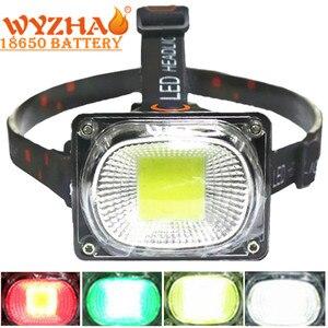 Image 1 - COB Làm Đèn Pha LED Cắm Trại Đèn Pin Đèn Sạc USB Đèn Pha Đỏ Xanh Trắng Chế Độ Ánh Sáng Use18650 Pin Chiếu Sáng Đèn Pin