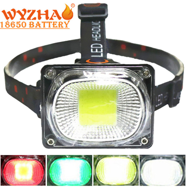COB Làm Đèn Pha LED Cắm Trại Đèn Pin Đèn Sạc USB Đèn Pha Đỏ Xanh Trắng Chế Độ Ánh Sáng Use18650 Pin Chiếu Sáng Đèn Pin