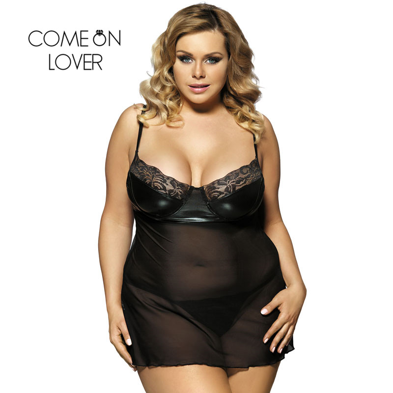 Comeonlover Leather <font><b>Babydoll</b></font> <font><b>Lingeries</b></font> Patchwork Lace <font><b>Sexy</b></font> Seksowna Bielizna <font><b>Mesh</b></font> Sleeveless See-through Charming Women RE80094 image