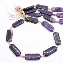 2 нити/лот 37 мм натуральные прямоугольные фиолетовые Агаты