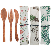 Hot 3pcs Cutlery set Natural Coconut Knife Spoon Fork Eco Friendly wooden tableware set Portable Organic Coconut Handcraft Woode portable bamboo korean cutlery set wooden tableware knife fork spoon set with eco friendly bamboo straw for travel cutlery set