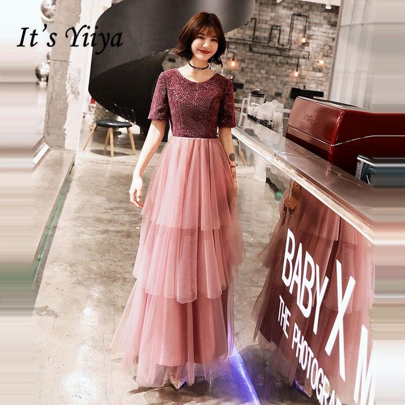 It's Yiiya Evening Dress Elegant O-neck Short Sleeve Evening Dresses Plus Size Formal Gowns 2020 Tiered Robe De Soiree LF150