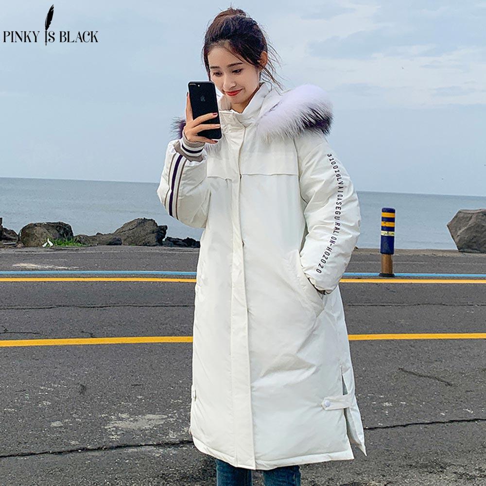 PinkyIsBlack Big Fur Hooded Feminine Winter Coat Clothing Warm Jacket Winter   Parkas   Long Outerwear Fashion Winter Jacket Women