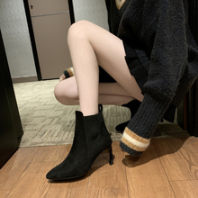 цена New Women Sock Boots Pointed Toe Elastic High Slip On Heel High Ankle Pumps Stiletto Botas Mujer High Boots Zapatos Muje 2019 онлайн в 2017 году