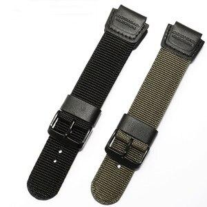 Image 3 - PEIYI ניילון רצועה שחור צבא ירוק צמיד החלפת חגורת עבור גברים של שעון ספורט AE 1200WH/SGW 300H/400/AQ S810W