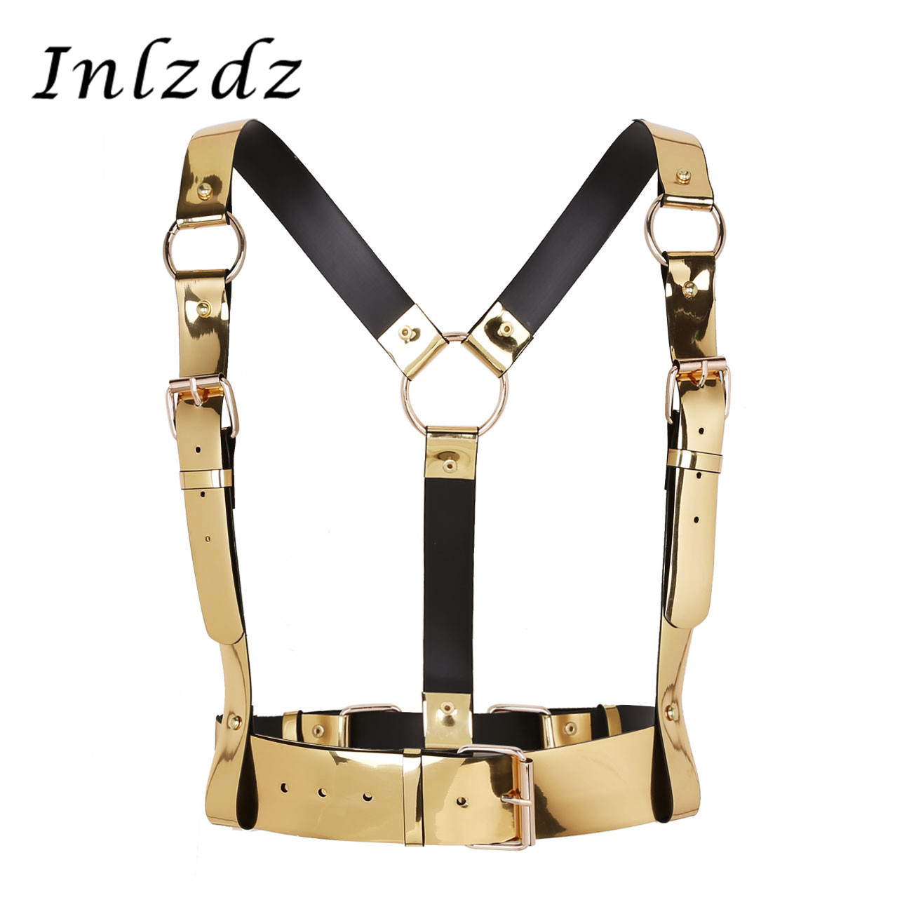 Harness For Men Women Punk Leather Y Shape Body Waist Belts With Metal O-rings Roleplay Costume Clubwear Braces Accessory