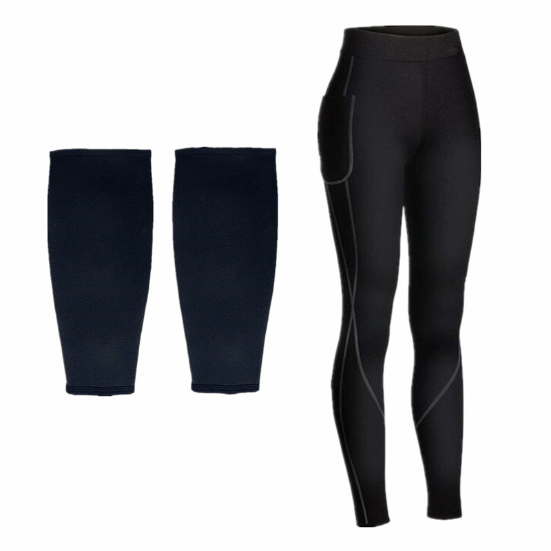 Bady Shaper Black Neoprene Fitness Pants Fat Burning Sweat Sauna Slimming Pants For Womens Loose Weight calf sleeves leg Trainer