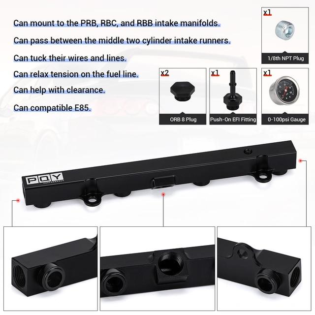 Aluminium K Series Heavy Fuel Rail Kit High Flow Injection Fuel Rail For Honda K20 K24 RSX Civic Si ,Integra EP3 With Oil Gauge 3