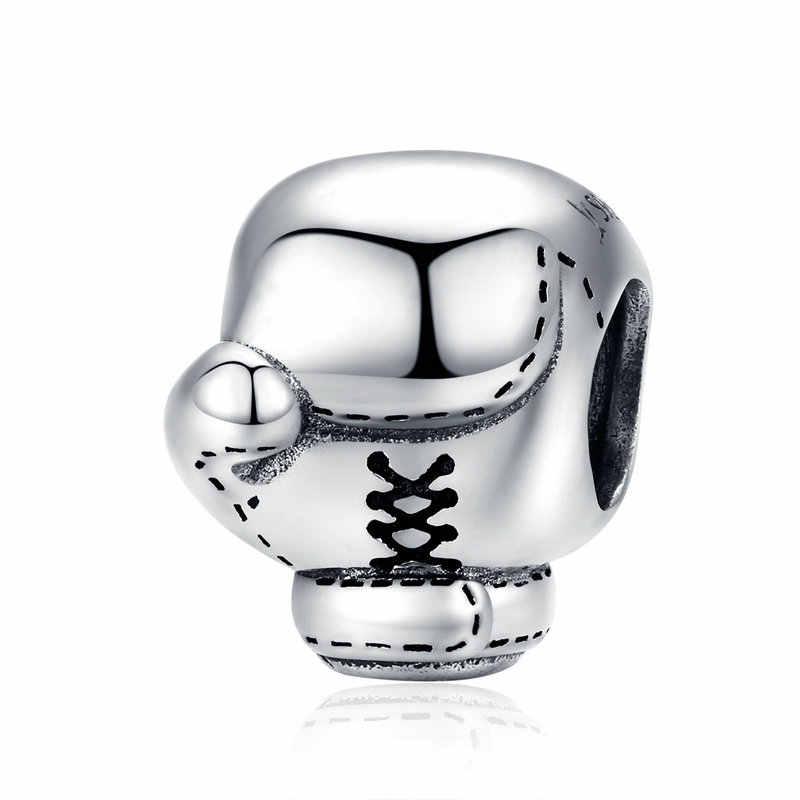Винтажная подвеска боксерская перчатка из стерлингового серебра 925 пробы, бусины, подходят к оригинальному браслету pandora, подвеска, подвесные женские Украшения, изготовление