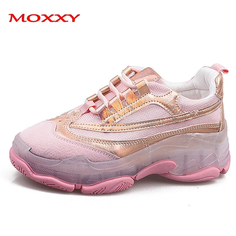 2019 New Fashion Dad Sneakers Women Shoes Chunky Sneakers Transparent Yellow Pink Casual Shoes Woman Trainers Chaussures Femme
