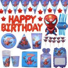 Spider-man motyw urodzinowy zestaw imprezowy dekoracje papierowy kubek i talerz słomkowy Nakpin flaga dzieci chłopiec dzieci dzień superbohater Party Supplie