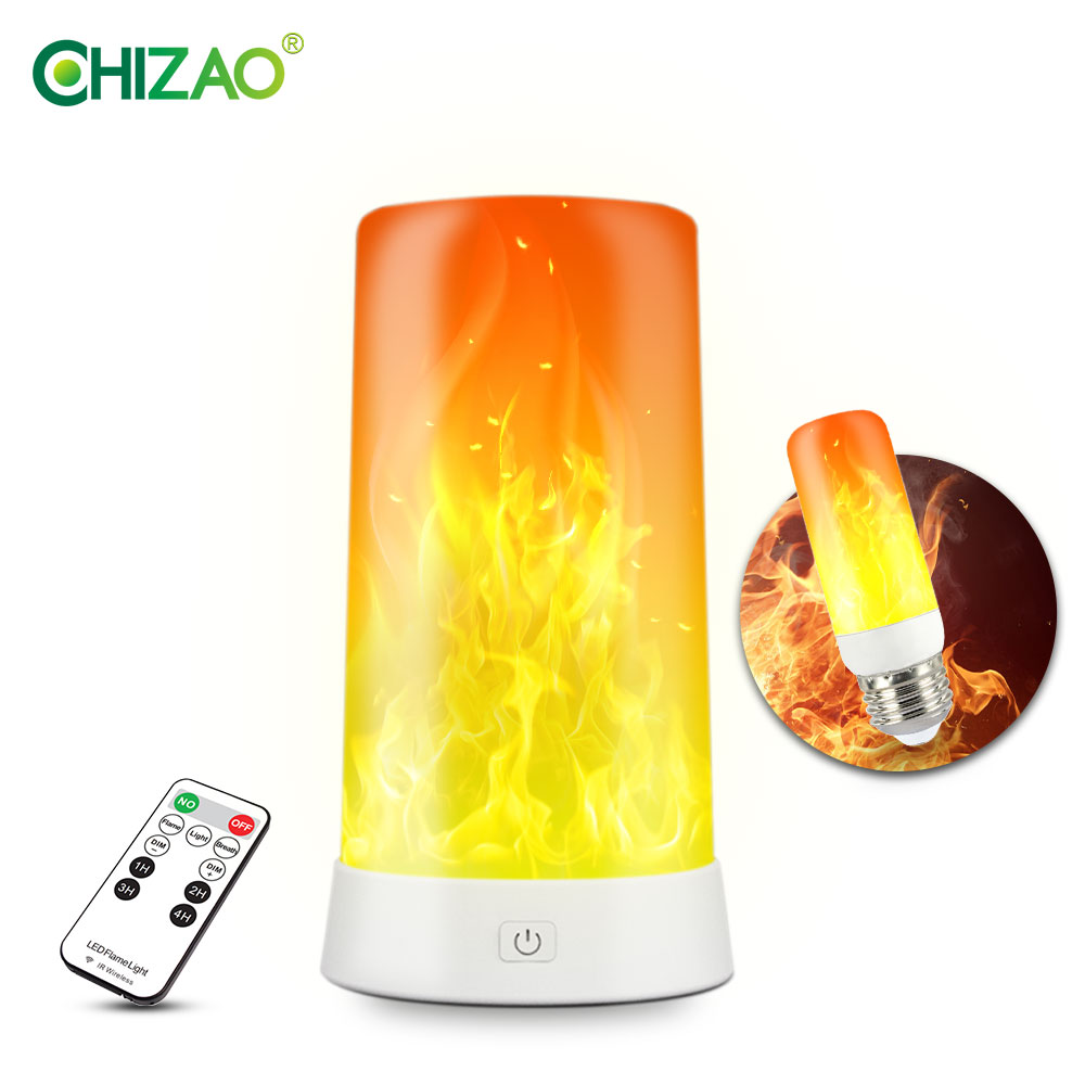 CHIZAO LED Flame Lamp Simulated Flame Effect Light Realistic Fire Atmosphere Light Interior Decoration Lamp 4 Lighting Modes USB