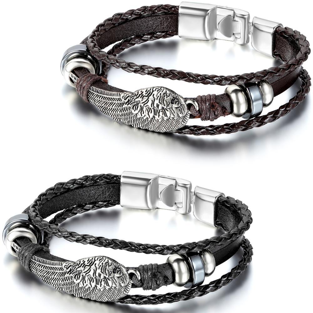 BONISKISS 2020 New Arrival Multilayer Angel Wings Bracelet Black Brown Braid Cuff Leather Women Men Bracelets Pulseira wholesale