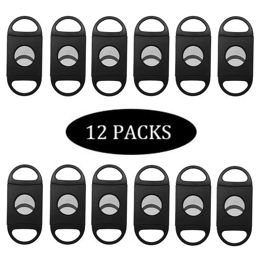 PIPITA 6 Or 12 Pcs Cigar Cutter Black Plastic Guillotine Double Blades Stainless Steel Pocket Cutters Cigar Tool Knife Scissor