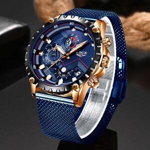 Image 1 - LIGE nowe męskie zegarki męskie modny Top marka luksusowy zegarek ze stali nierdzewnej niebieski kwarc mężczyźni Casual Sport wodoodporny zegarek Relogio