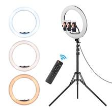 21 lâmpada de anel de luz led de conjunto de lâmpada de fotografia stepless com tripé suporte de telefone controle remoto para transmissão ao vivo vlog
