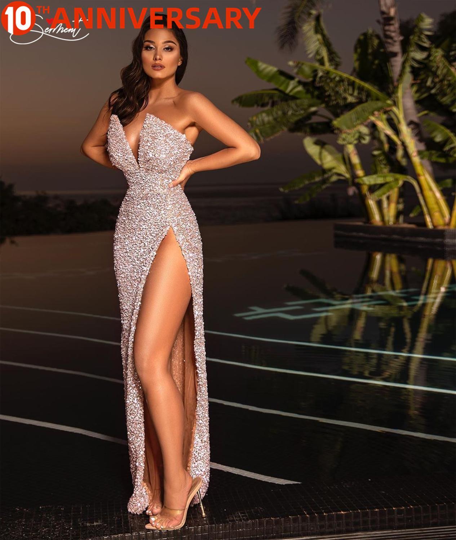 OLLYMURS Sexy Split Sequin Dress Evening Dress Prom Pink Sleeve Free Shipping Straight Mermaid Dress