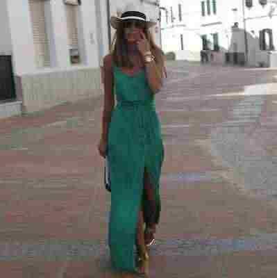 2019 Casual Vestito Da Estate Senza Maniche Delle Donne Maxi Vestiti Lunghi Verde Con Scollo A V A Vita Alta Anteriore Wrap Spiaggia Delle Donne Del Vestito