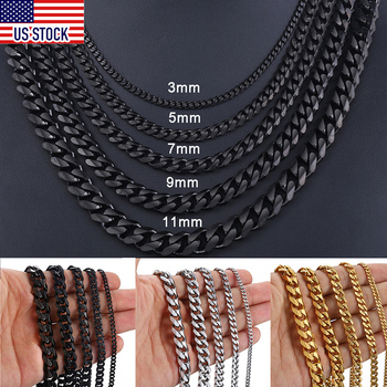 Stainless Steel Chains Necklace for Men Black Gold Silver Color Mens Necklace Curb Cuban Jewelry Gifts 3/5/7/9/11mm DLKNM09 3 11mm men s bracelets stainless steel curb cuban link chain silver color black gold bracelet men women jewelry gift 7 10 kbm03